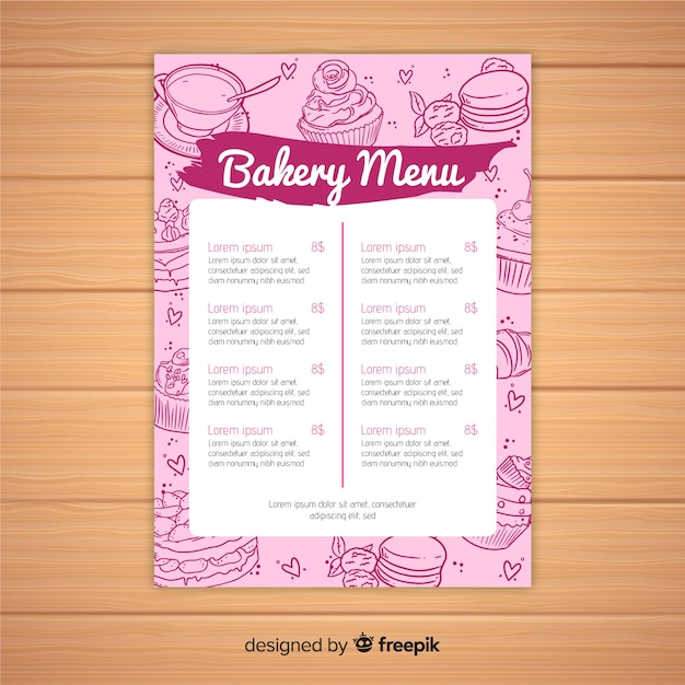 Pink bakery menu template Free Vector