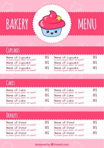 Pink Bakery Menu Vector Premium Download