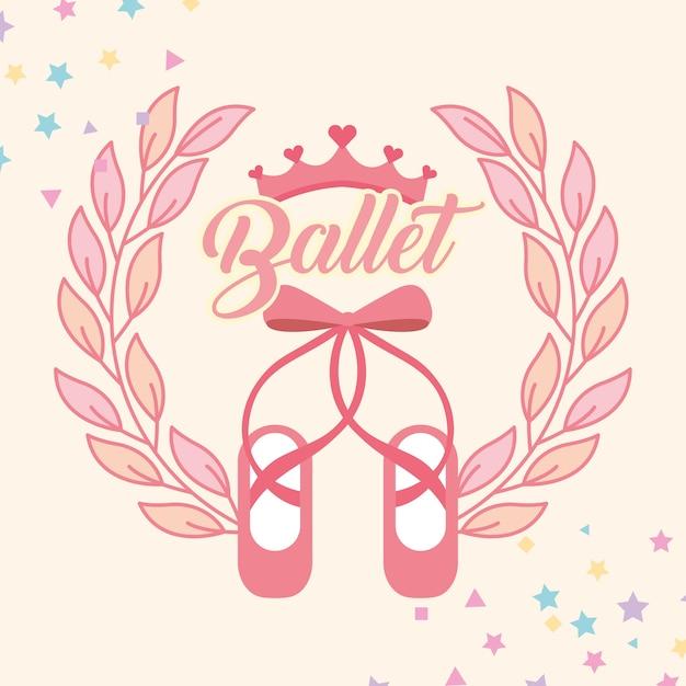 Pink Ballet Pointe Shoes Emblem Vector Premium Download