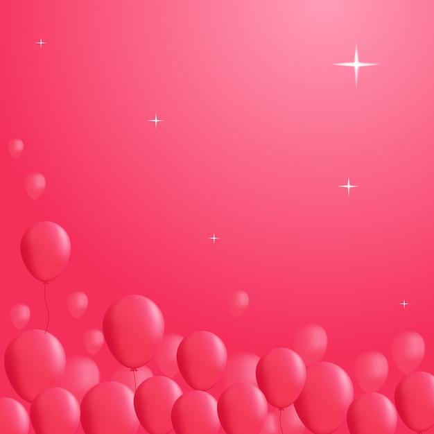 Pink balloon on sky background Premium Vector