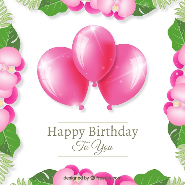Pink Balloons Happy Birthday Background Free Vector