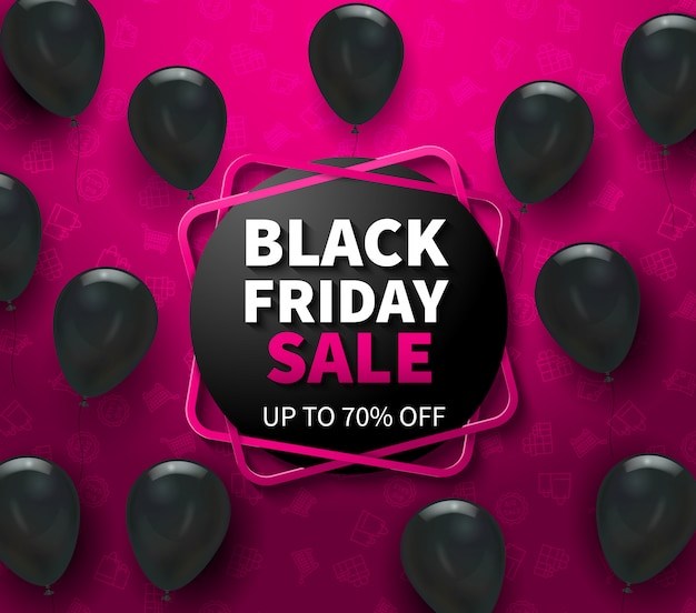 Pink banner with black friday sale advertisement and realistic balloons vector illustration Free Vector