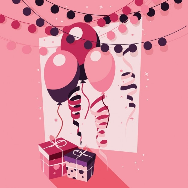 pink birthday background vector free download
