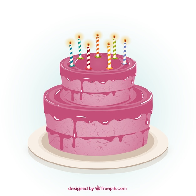 Pink birthday cake Vector Free Download