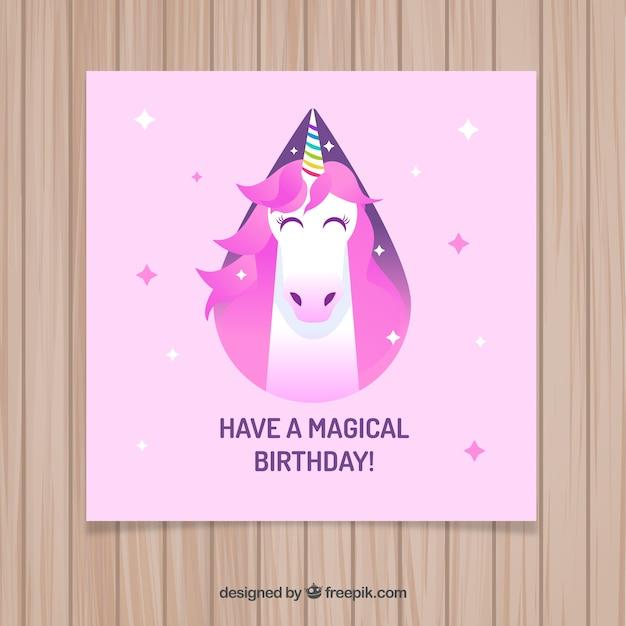 Pink birthday card with a magic unicorn
