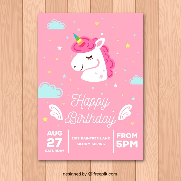 Pink Birthday Card With A Cute Unicorn Vector