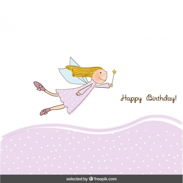 Pink birthday card with fairy girl Free Vector
