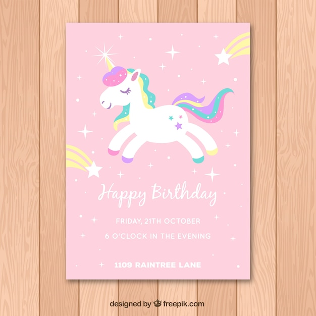 Pink birthday card with a white unicorn Free Vector