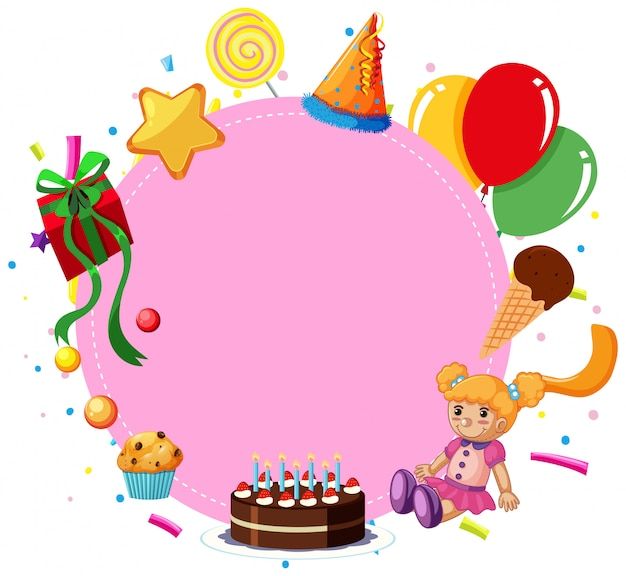 Pink birthday card Free Vector
