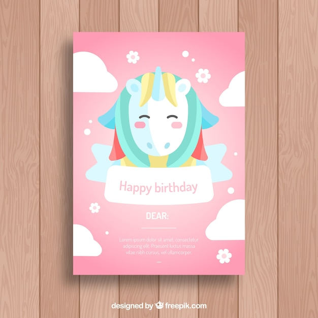 Pink birthday invitation with a nice unicorn