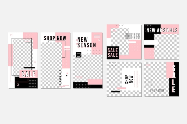 Pink and black instagram post collection Premium Vector