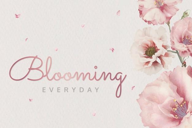 Pink blooming flowers Free Vector