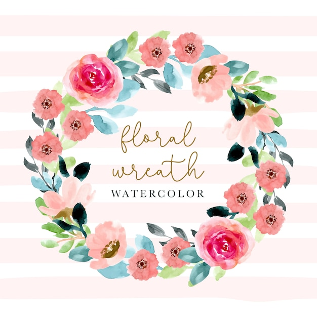 Pink blossom floral watercolor wreath. Premium Vector