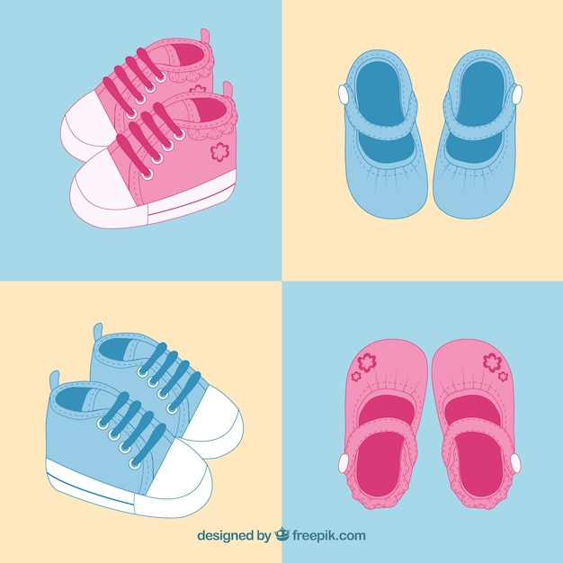 Pink And Blue Baby Shoes Free Vector