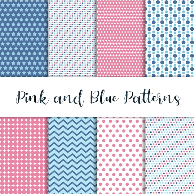 Pink and blue cute patterns Premium Vector