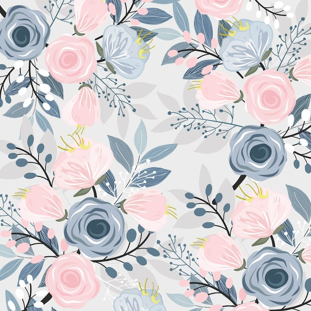 Pink and blue floral with leaf pattern. Premium Vector