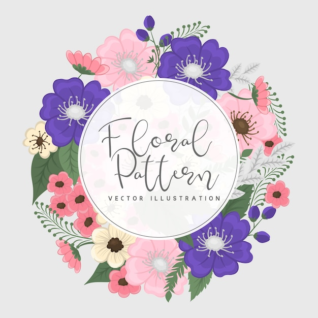 Pink and blue floral wreath frame Free Vector
