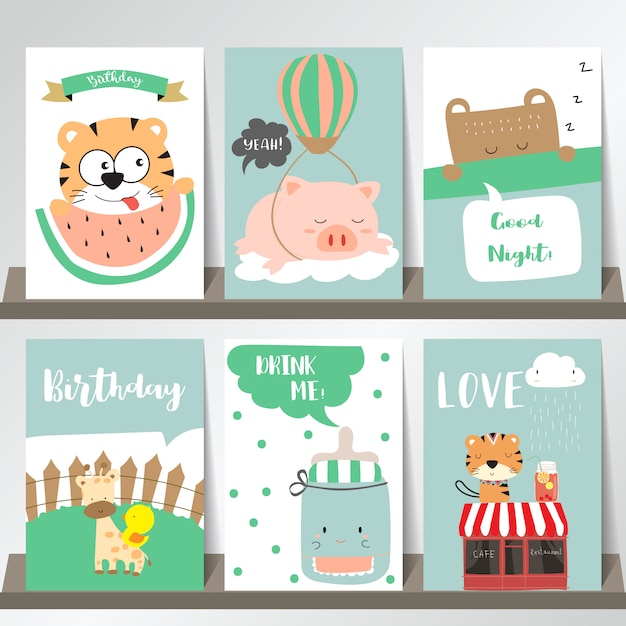 Pink blue green collection for banners Premium Vector