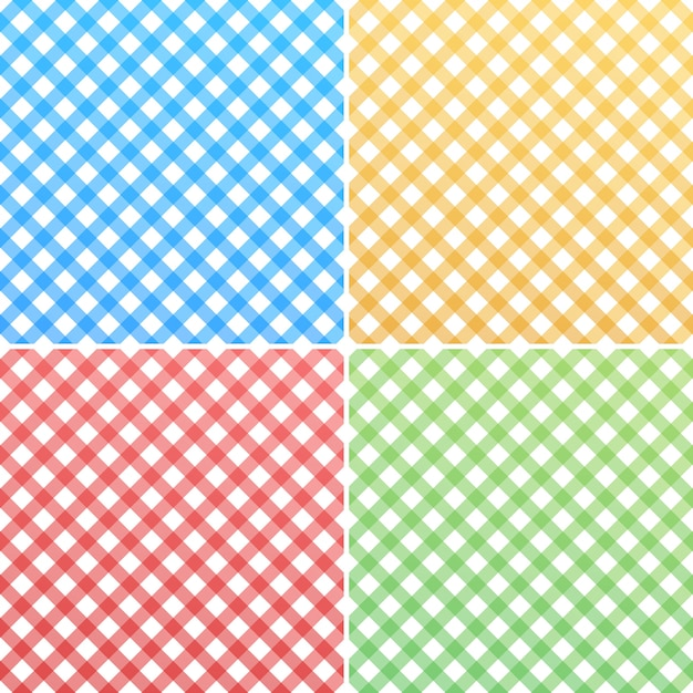 Pink, blue, green, yellow and white gingham Premium Vector