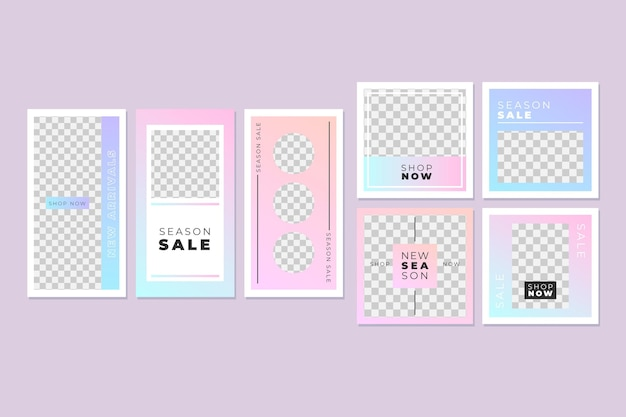 Pink and blue instagram post collection Free Vector