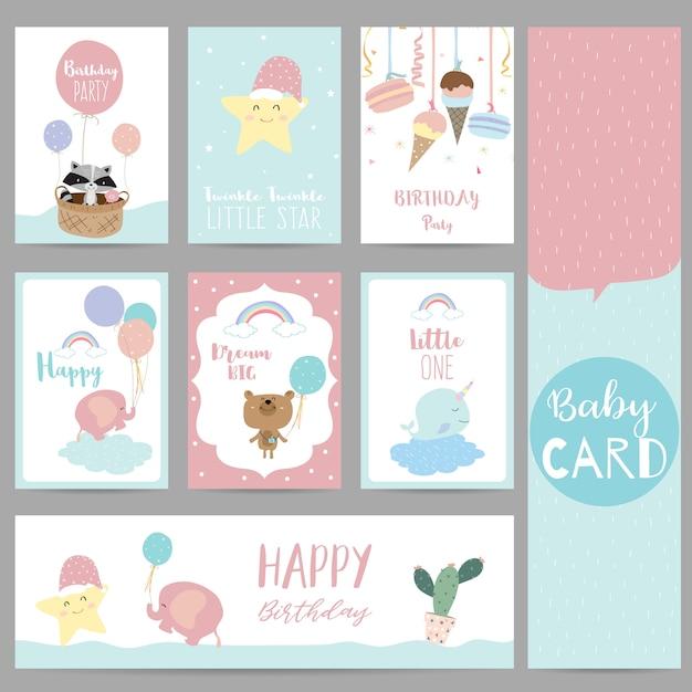 Pink blue pastel greeting card Premium Vector