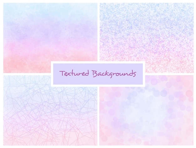 Pink and blue textured ombre backgrounds set Premium Vector
