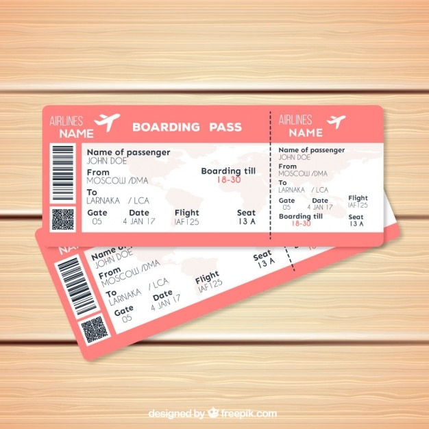 Pink boarding pass template in realistic style Vector ...