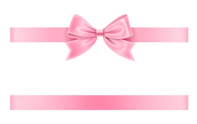 ピンクの弓とリボン Premiumベクター
