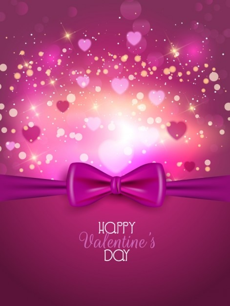 Pink Bow Valentine Day Background Vector Free Download
