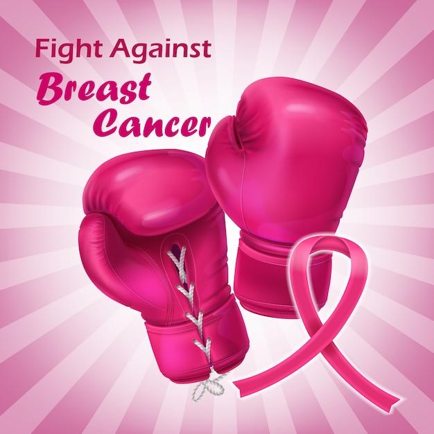 リアルなスタイルのピンクのボクシンググローブ 無料ベクター