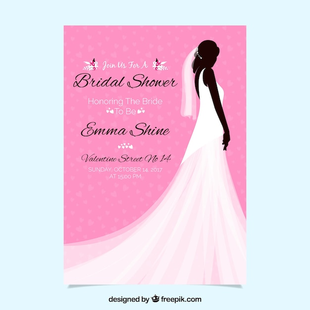 Pink bridal shower invitation with female silhouette and wedding dress Free Vector