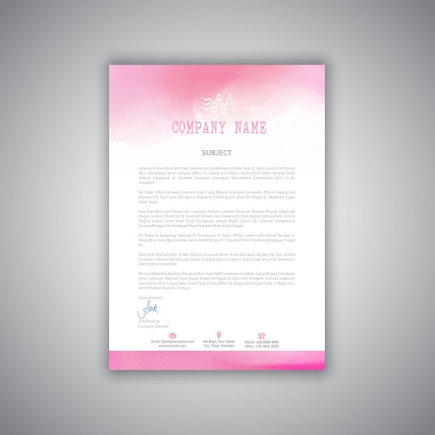 pink brochure with watercolors vector