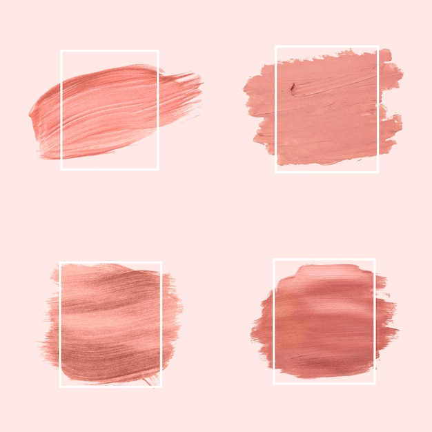 Pink brush strokes collection Free Vector