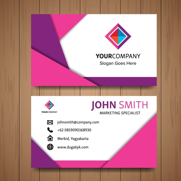 Pink business card with geometric shapes vector free download pink business card with geometric shapes free vector colourmoves
