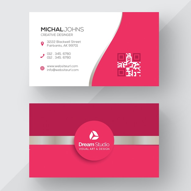 Pink business card Premium Vector