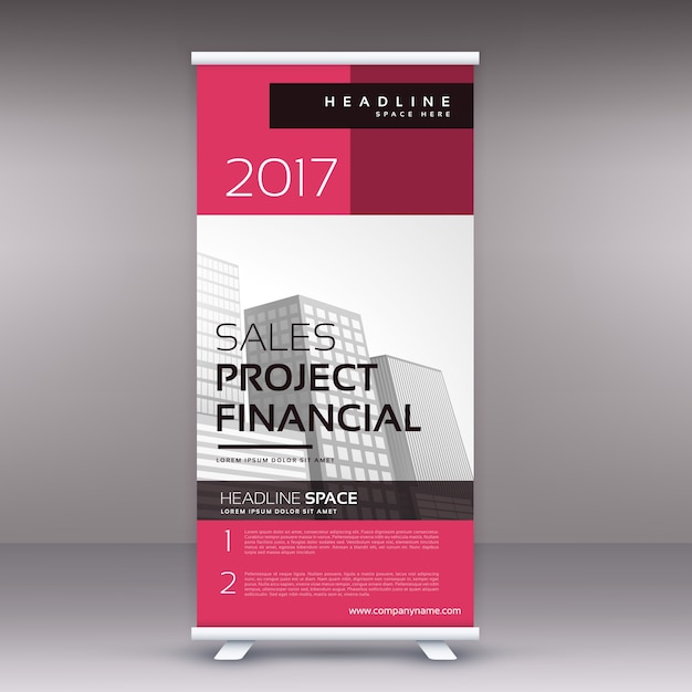 Pink Business Standee Template Vector Free Download