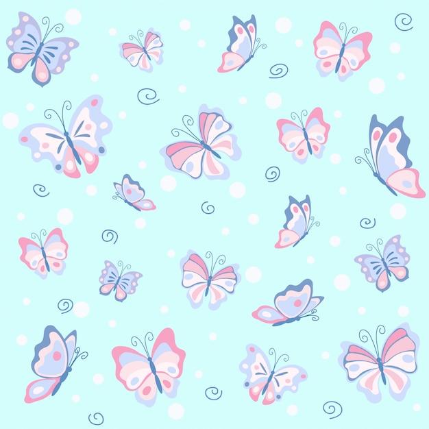 青いシームレスパターンのピンクの蝶 Premiumベクター