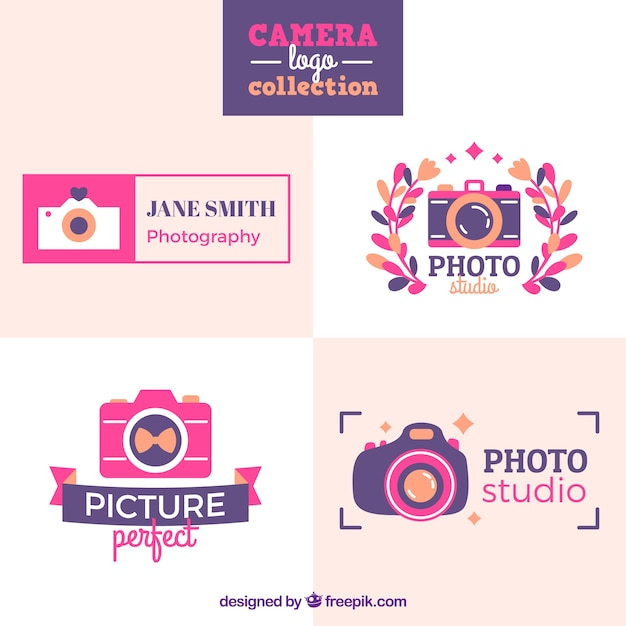 Pink camera logo collection
