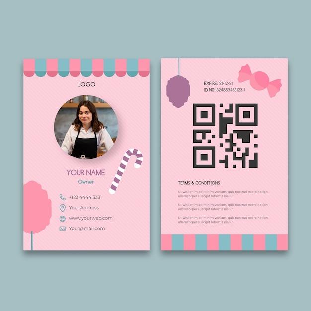 ピンクのキャンディーバービジネスidカードテンプレート 無料ベクター