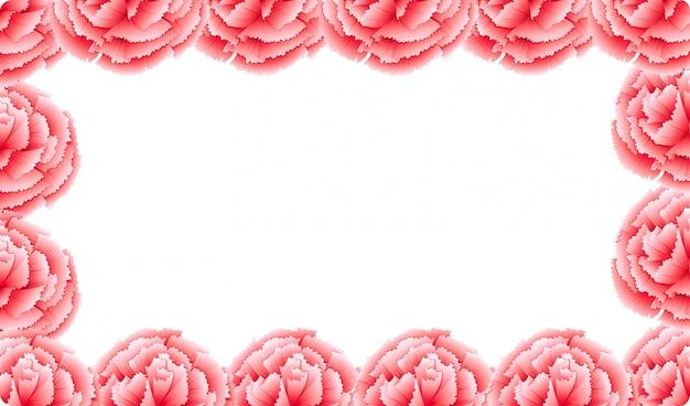 Pink carnation flower frame Free Vector
