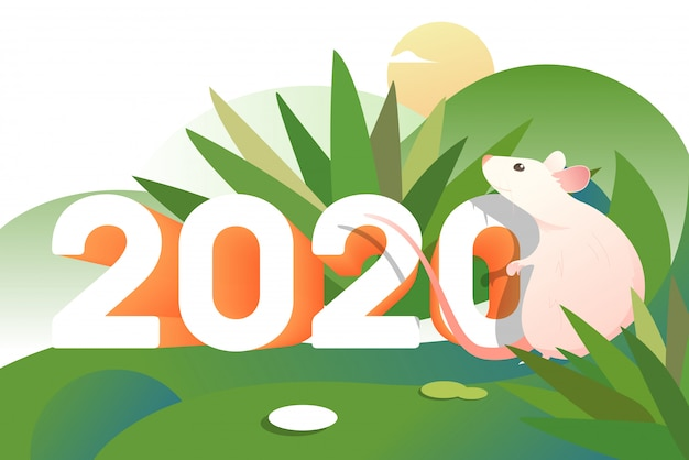 Pink cartoon rat outdoors with two thousand and twenty numbers Free Vector