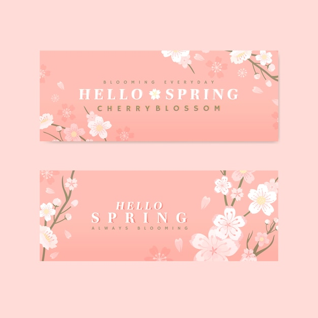 Pink cherry blossom banner vector Free Vector