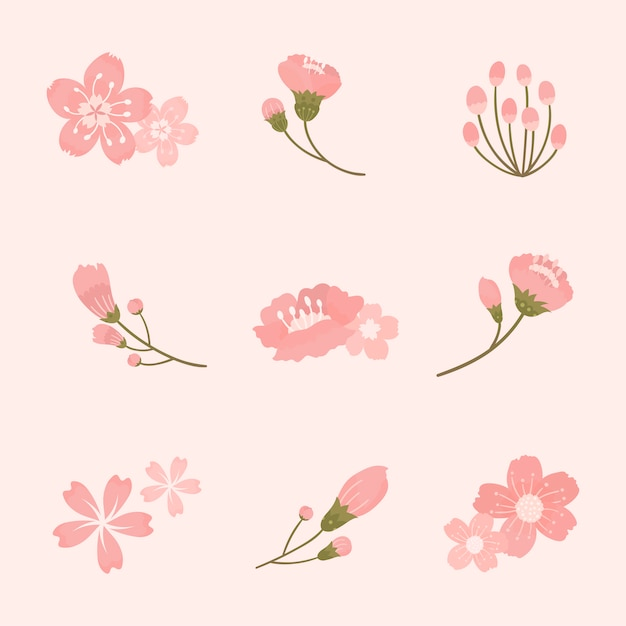 Pink cherry blossom elements collection vector Free Vector