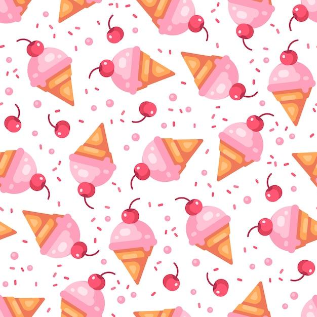 Pink cherry ice cream cone seamless pattern Premium Vector