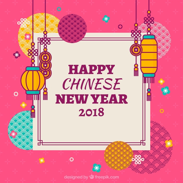 pink chinese new year background free vector