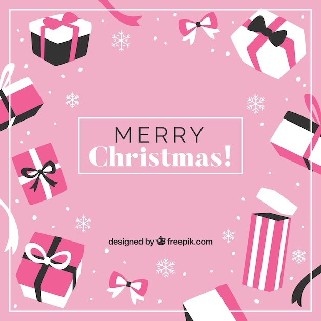pink christmas background with gift boxes vector