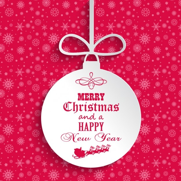 Pink christmas card with bauble Free Vector