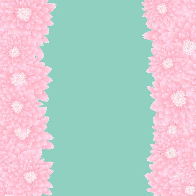 Pink chrysanthemum border Premium Vector