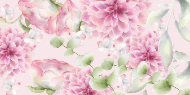 Pink chrysanthemums floral  watercolor. delicate decor textures Premium Vector