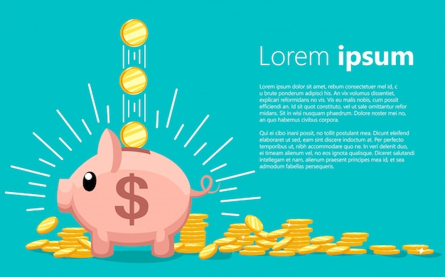Pink coin box. piggy bank with falling gold coins. the concept of saving or save money or open a bank deposit.  illustration with place for your text on turquoise background Premium Vector